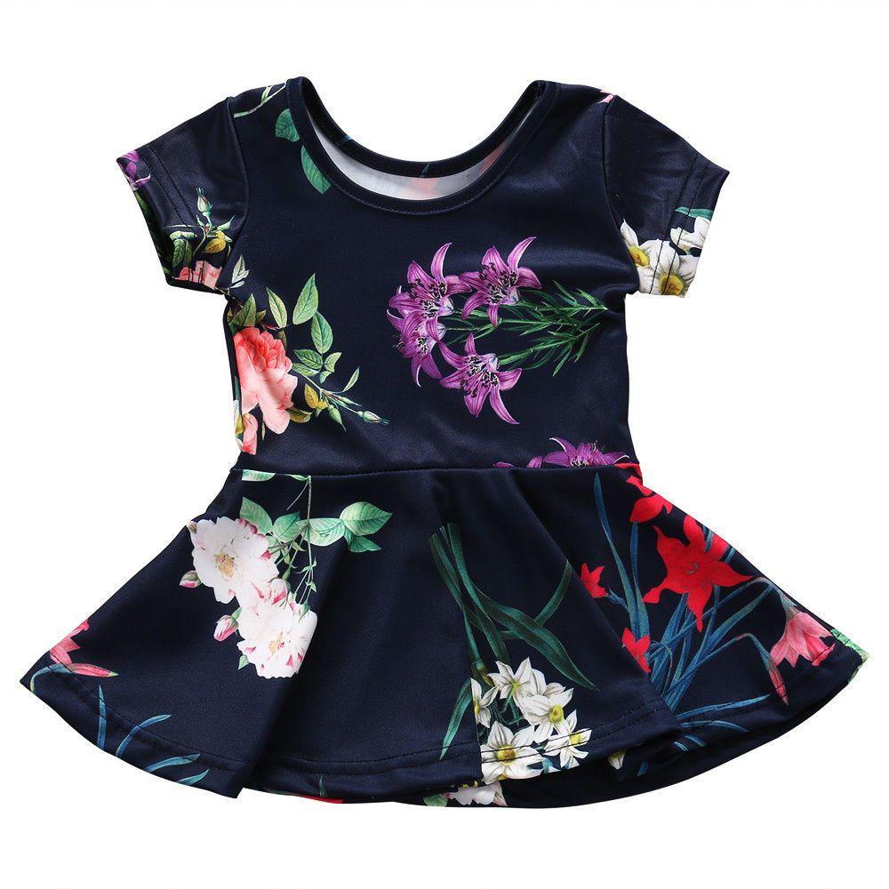 Baby kids girls casual summer floral short sleeve dress sundress