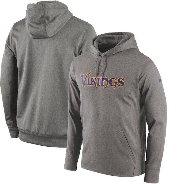 3ec6629b8cb6 Minnesota Vikings Nike Circuit Wordmark Essential Performance Pullover  Hoodie - Gray  MinnesotaVikings