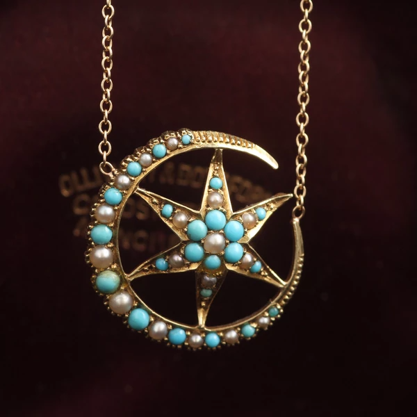 Edwardian Turquoise and Pearl Crescent and Star Necklace