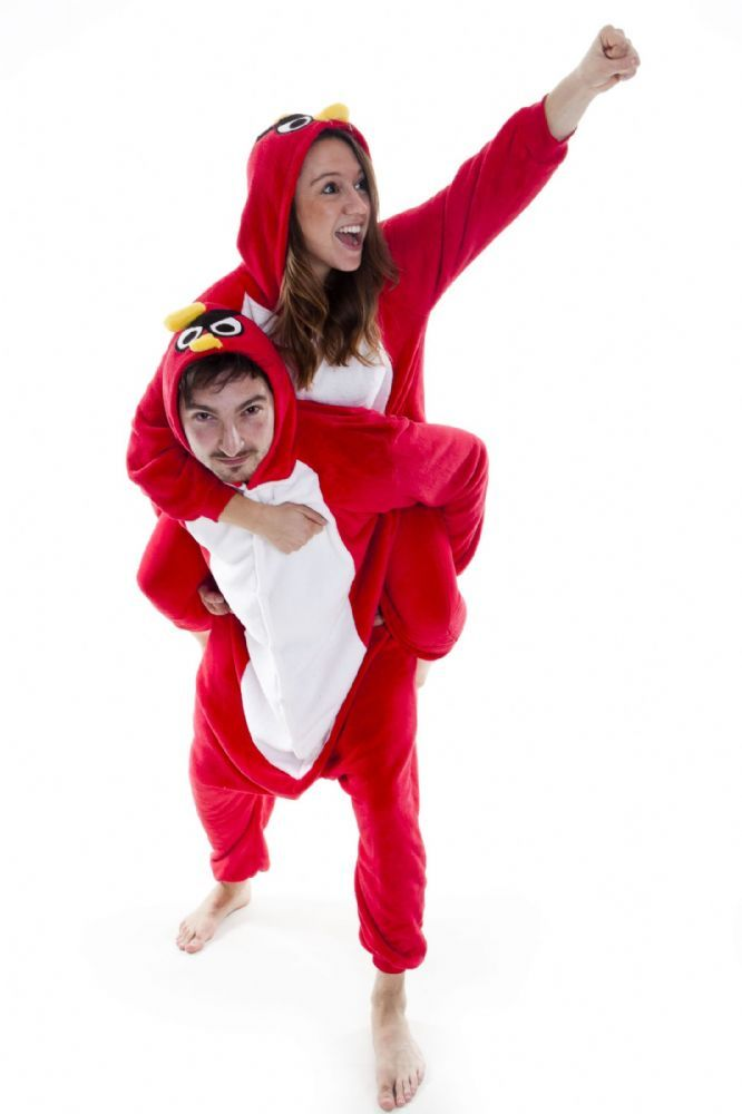 This is a super soft and cuddly onesie with pockets and hood Red Angry Bird with tail pockets and hood with beak The perfect bed time wear as well as
