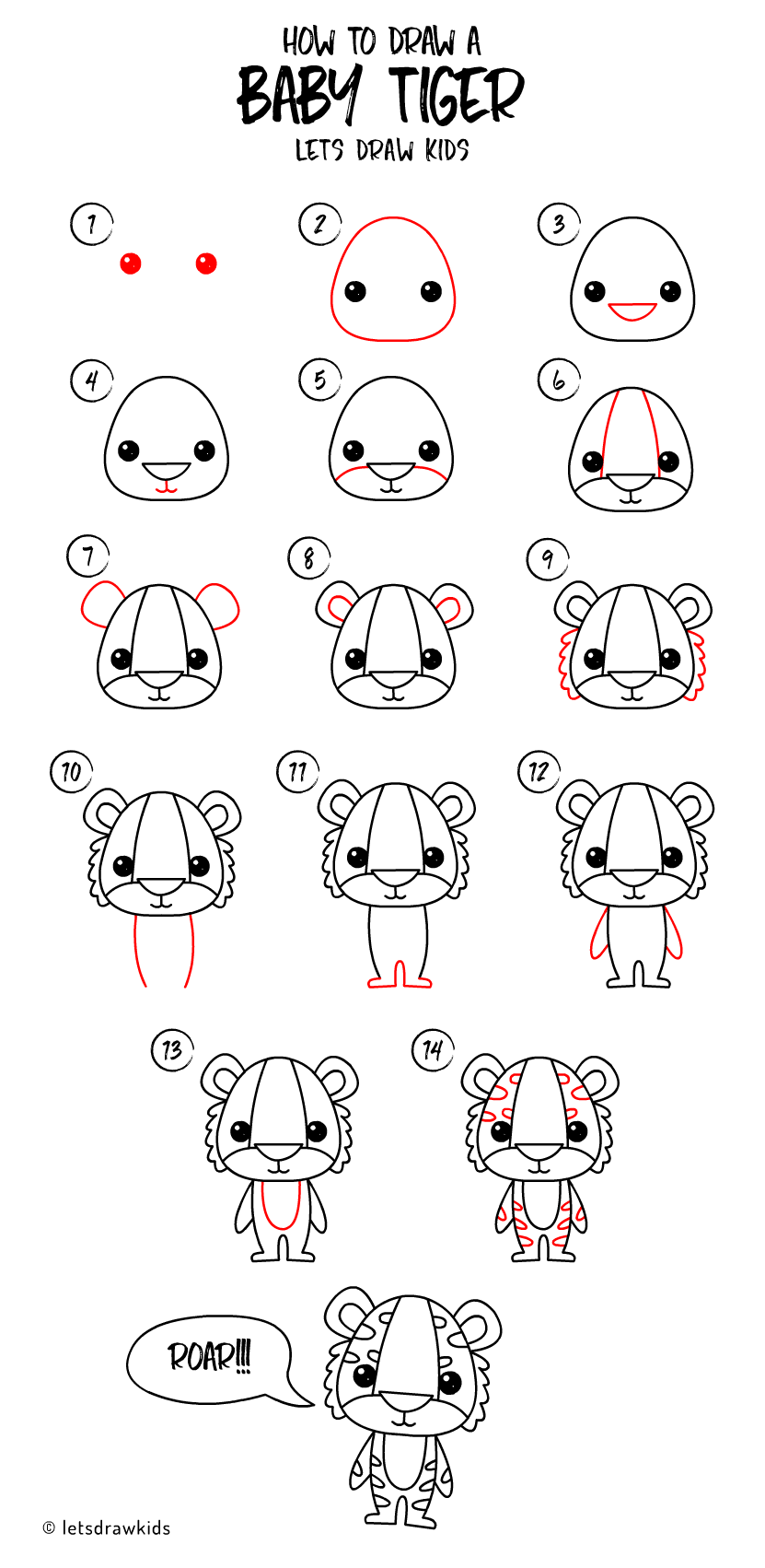 Draw Baby Tiger. Easy Drawing Step