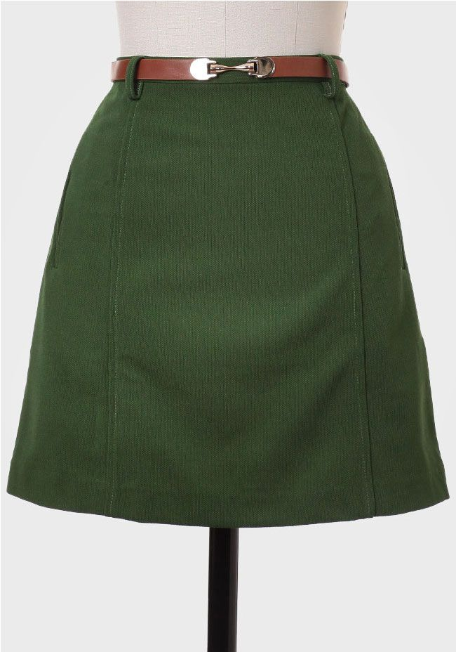 88c9260d6 English Manor Belted Skirt In Green at #Ruche @Mimi B. ヾ ...