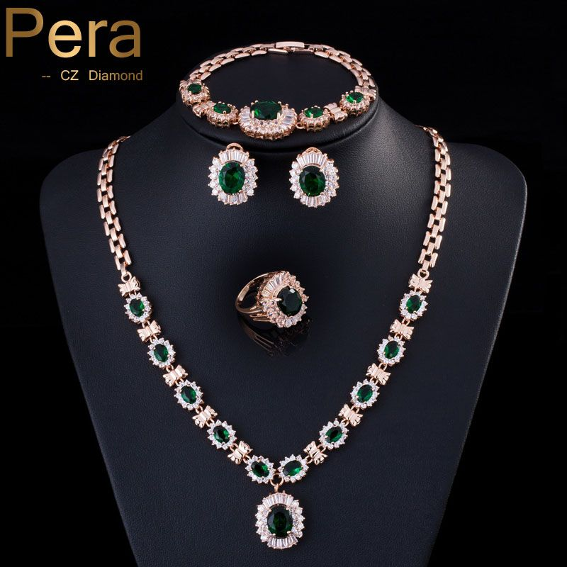 Pera 4 Piece Set Big Cubic Zirconia Fashion Women Gold Color Round