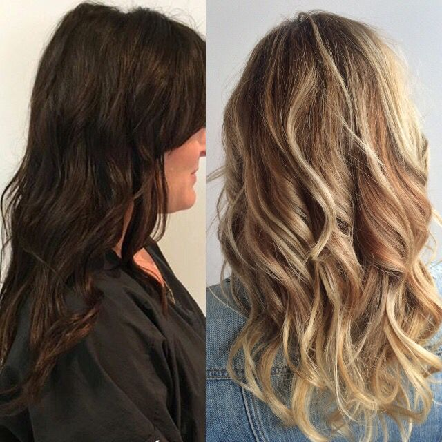 Dark To Light Hair Before And After Blonde Hair Balayage Blonde
