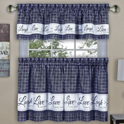 August Grove Tabares Live Love Laugh Kitchen Curtain Size 58 W X 24 L Color Navy Kitchen Curtains Curtains