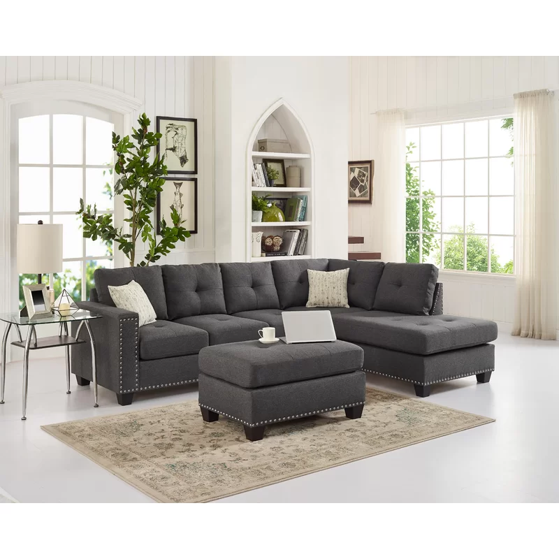 Everleigh 105 Reversible Sofa Chaise With Ottoman In 2020 Fabric Sectional Sofas Sectional Sofa Couch Furniture