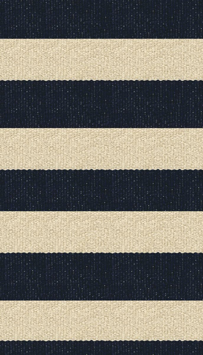 Hampton 4 Inch Stripe Indoor Outdoor Pvc Rug Navy And Tan