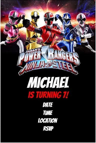 Power Rangers Ninja Steel Party Invitation Power Ranger Birthday Power Ranger Party Ninja Birthday Party Invitations