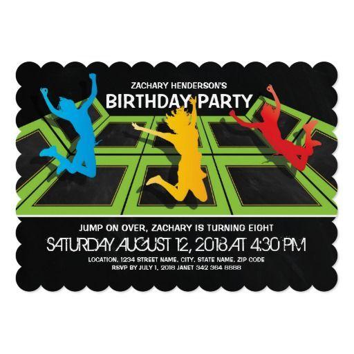 Trampoline Park Kids Birthday Party Invitation Zazzle Com In 2019