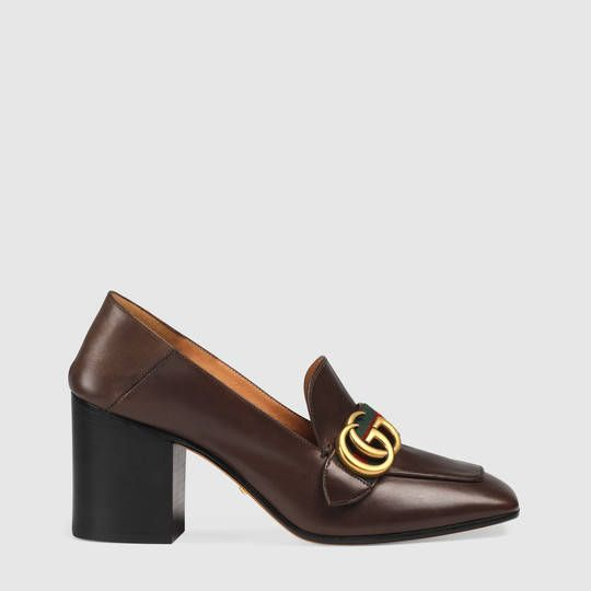 Gucci Leather mid-heel loafer designed to wear with back folded down or up