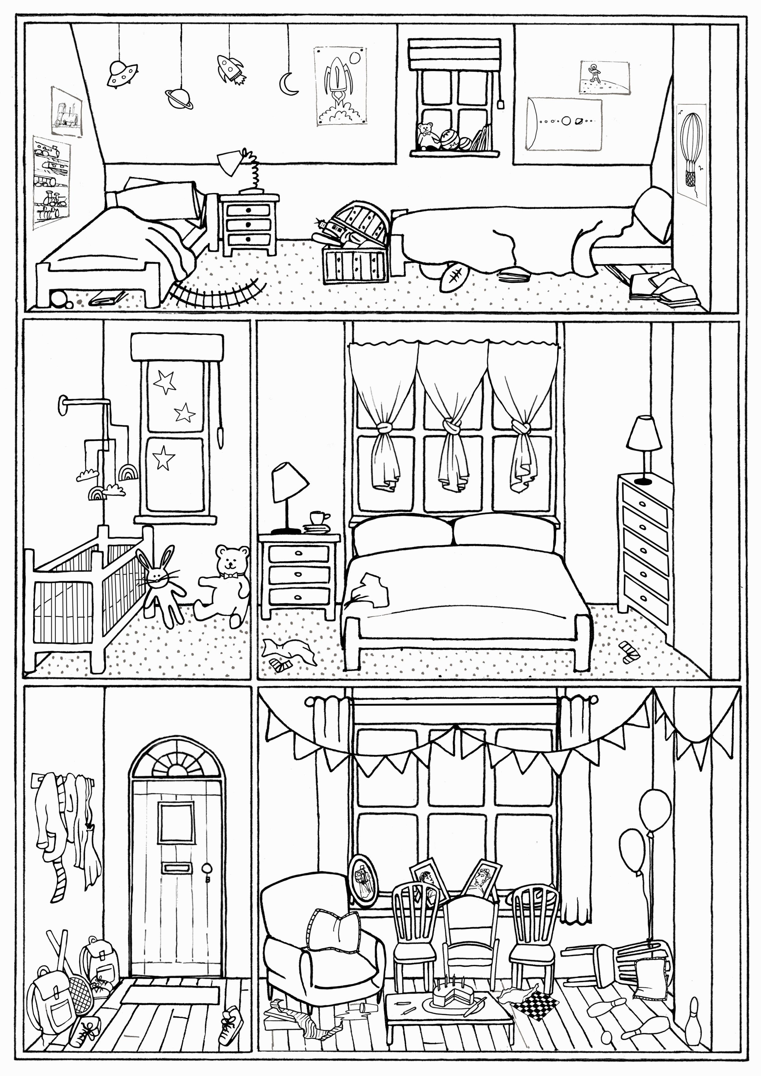 House Colouring Page Interior No 28 Line Drawing Download Print Colour Play In 2020 House Colouring Pages Colouring Pages Coloring Pages