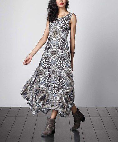 d24b52871b Look at this  zulilyfind! Gray Floral Sleeveless Handkerchief Maxi Dress…