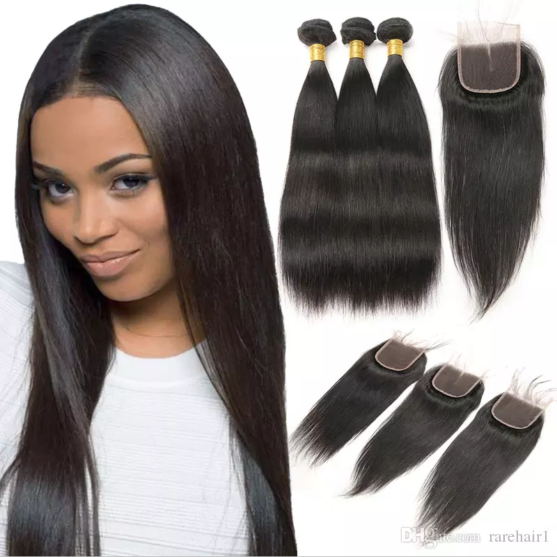 Malaysian Hair 3 Bundles With Closure Straight Remy Hair With