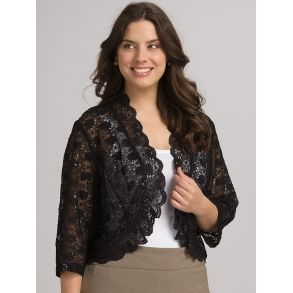 Scalloped Sequin Bolero Jakke