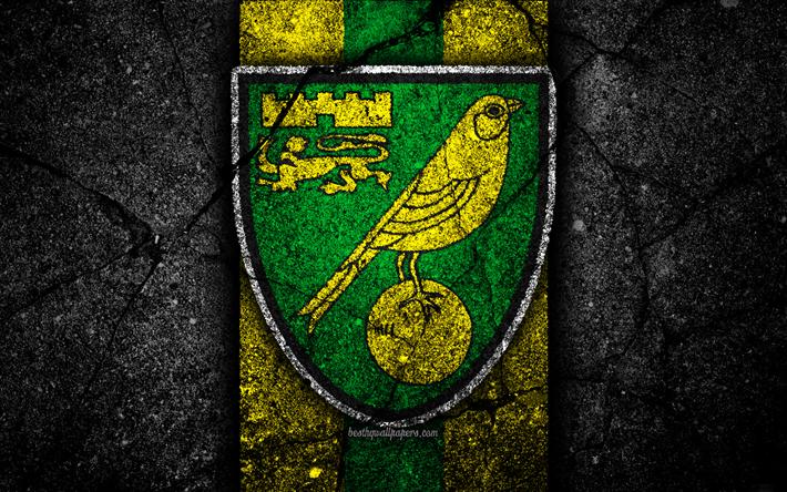 Download wallpapers 4k, Norwich City FC, logo, EFL