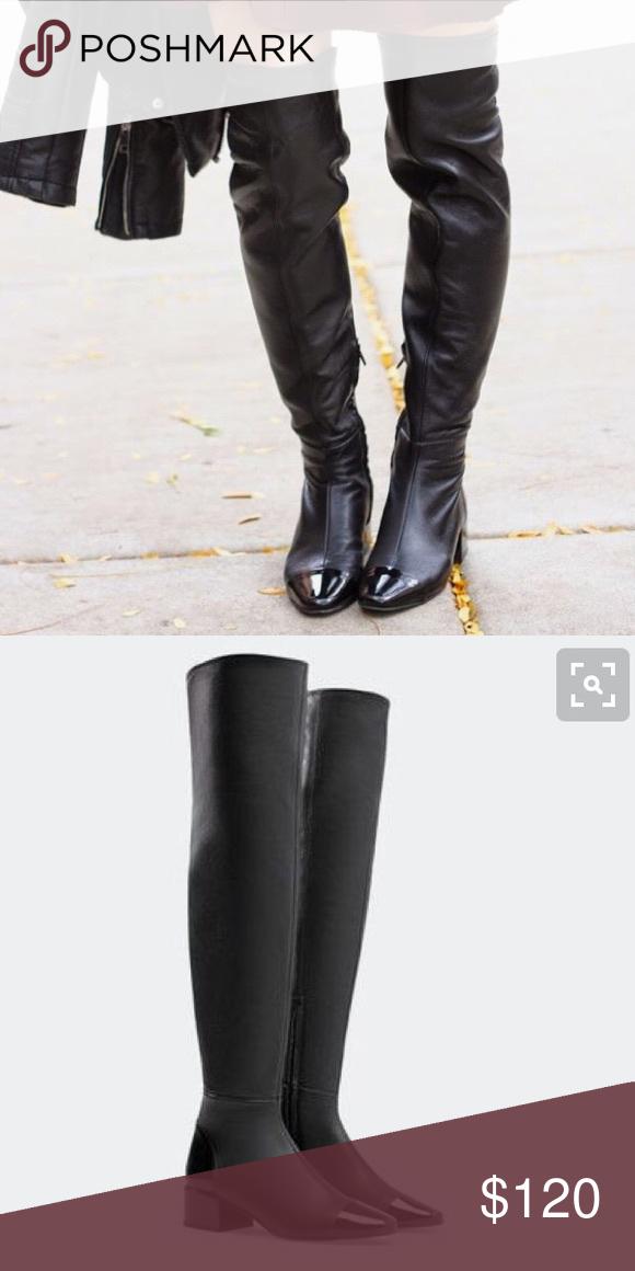 9fa51079b04 NEW Zara knee high leather boot w patent toe sz 38 NEW Zara knee ...