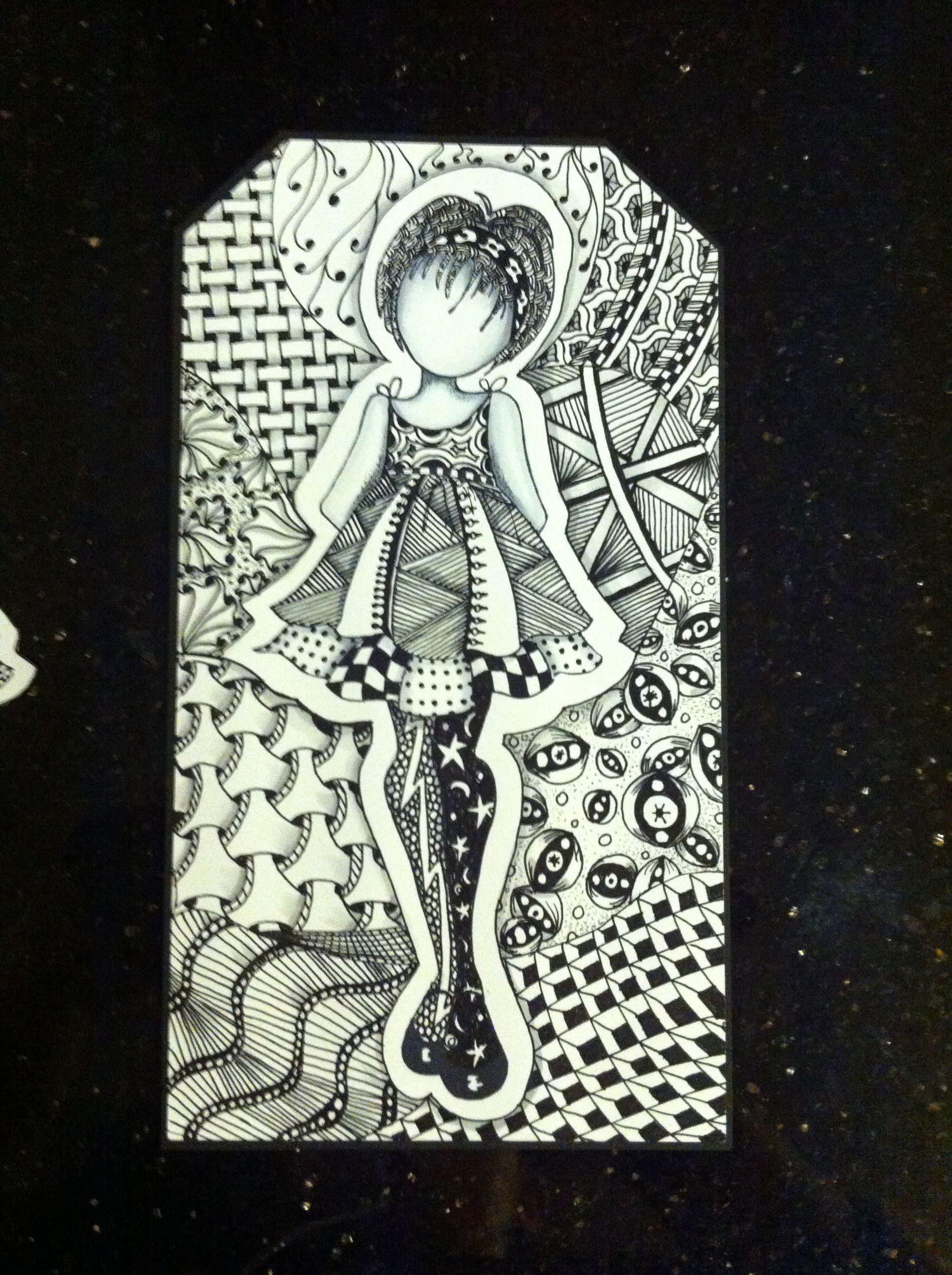dabbling in zentangle art  Prima/Julie Nutting doll stamp  | Zen