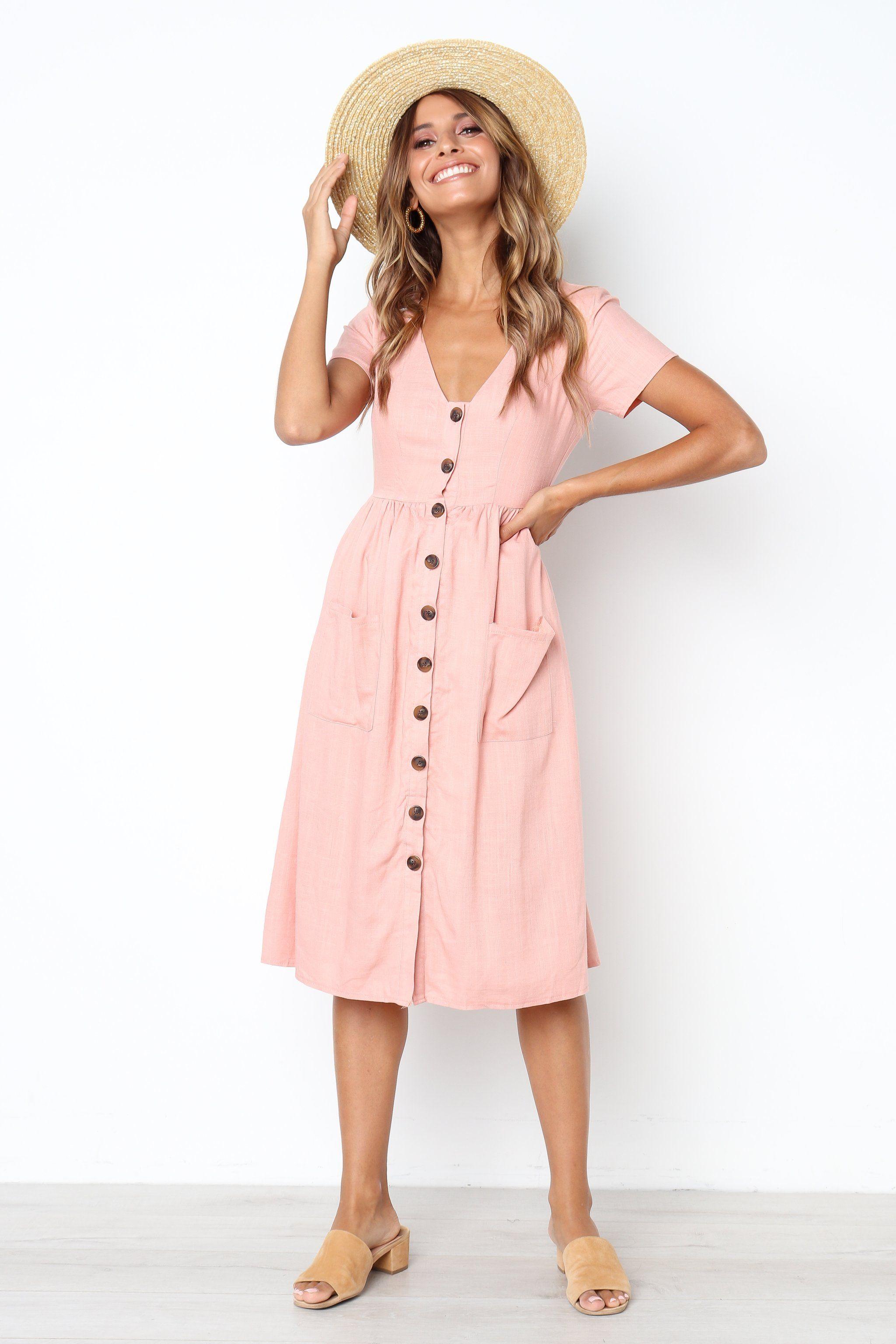 Vicky Dress Blush Midi Short Sleeve Dress Casual Summer Dresses Long Sleeve Swing Dress