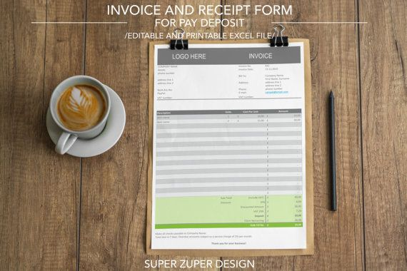 INVOICE TEMPLATE  Business Form  Receipt Form  DEPOSIT Invoice     INVOICE TEMPLATE  Business Form  Receipt Form  DEPOSIT Invoice   Custom   Professional   Excel  Auto Calculation  Editable  Printable   BUSINESS  THINGS