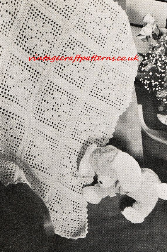 Filet Flower crochet baby blanket pram vintage crochet pattern PDF ...