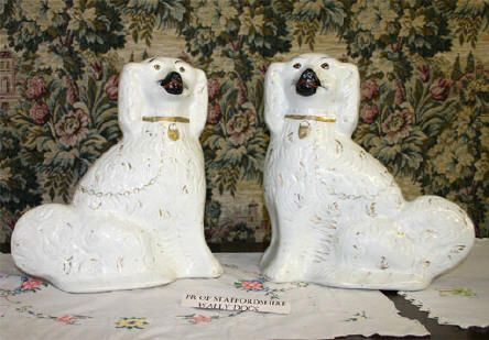 Pair Of Staffordshire Wally Dogs Staffordshire Dog Crystal Ornament Shabby Chic Lounge