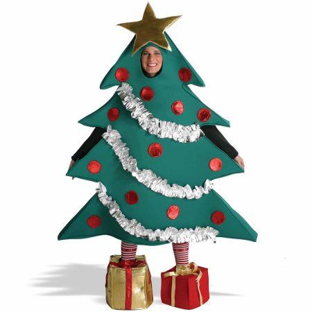 Christmas Tree Men S Adult Costume One Size 40 46 Walmart Com In 2020 Christmas Tree Costume Tree Halloween Costume Tree Costume