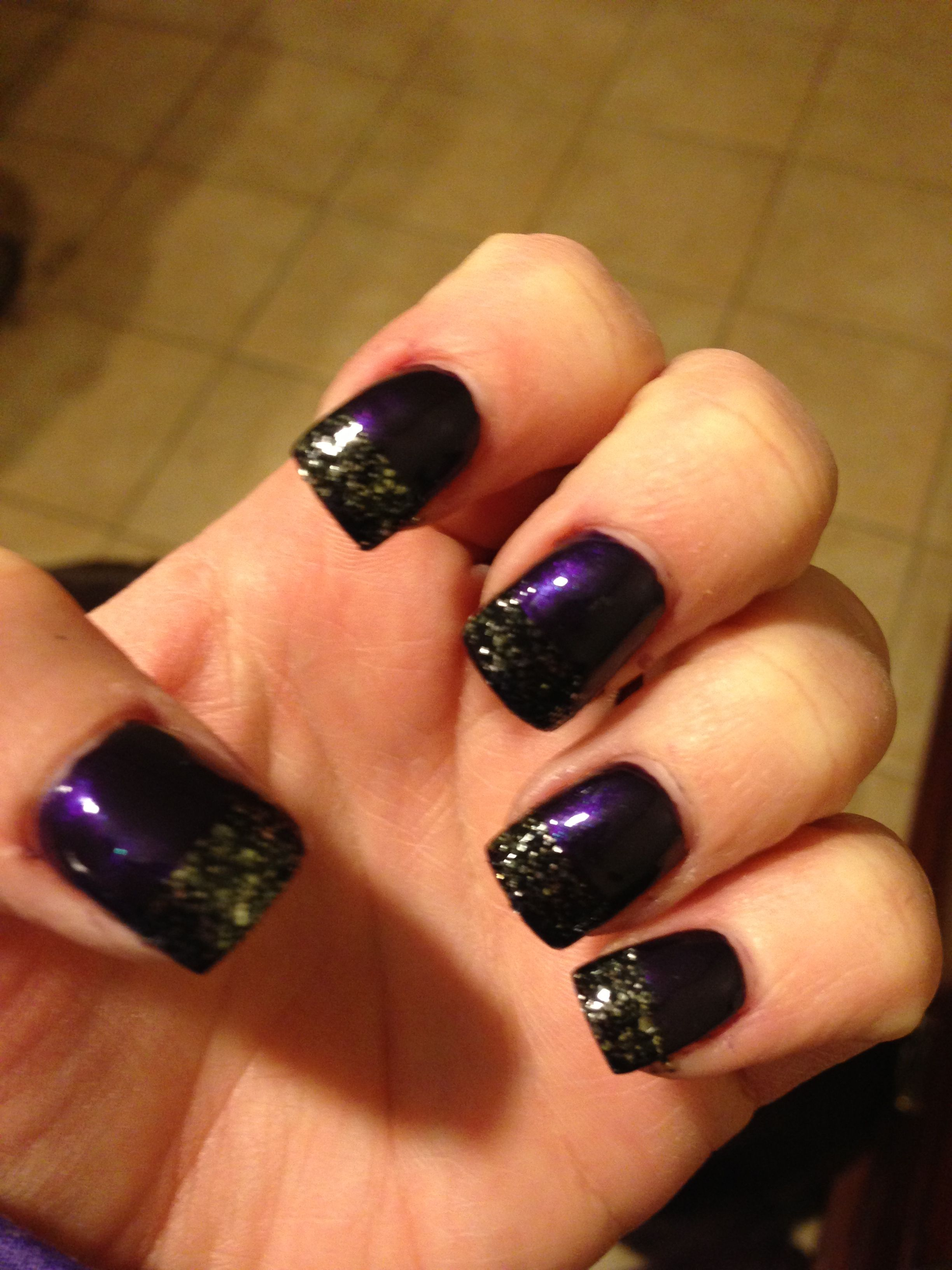 My Dark Purple And Sparkly Black French Tip Nails Cute Nails 3