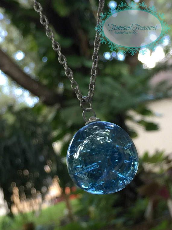 Blue Cracked Marble Christmas Gift Mermaid necklace Free ...