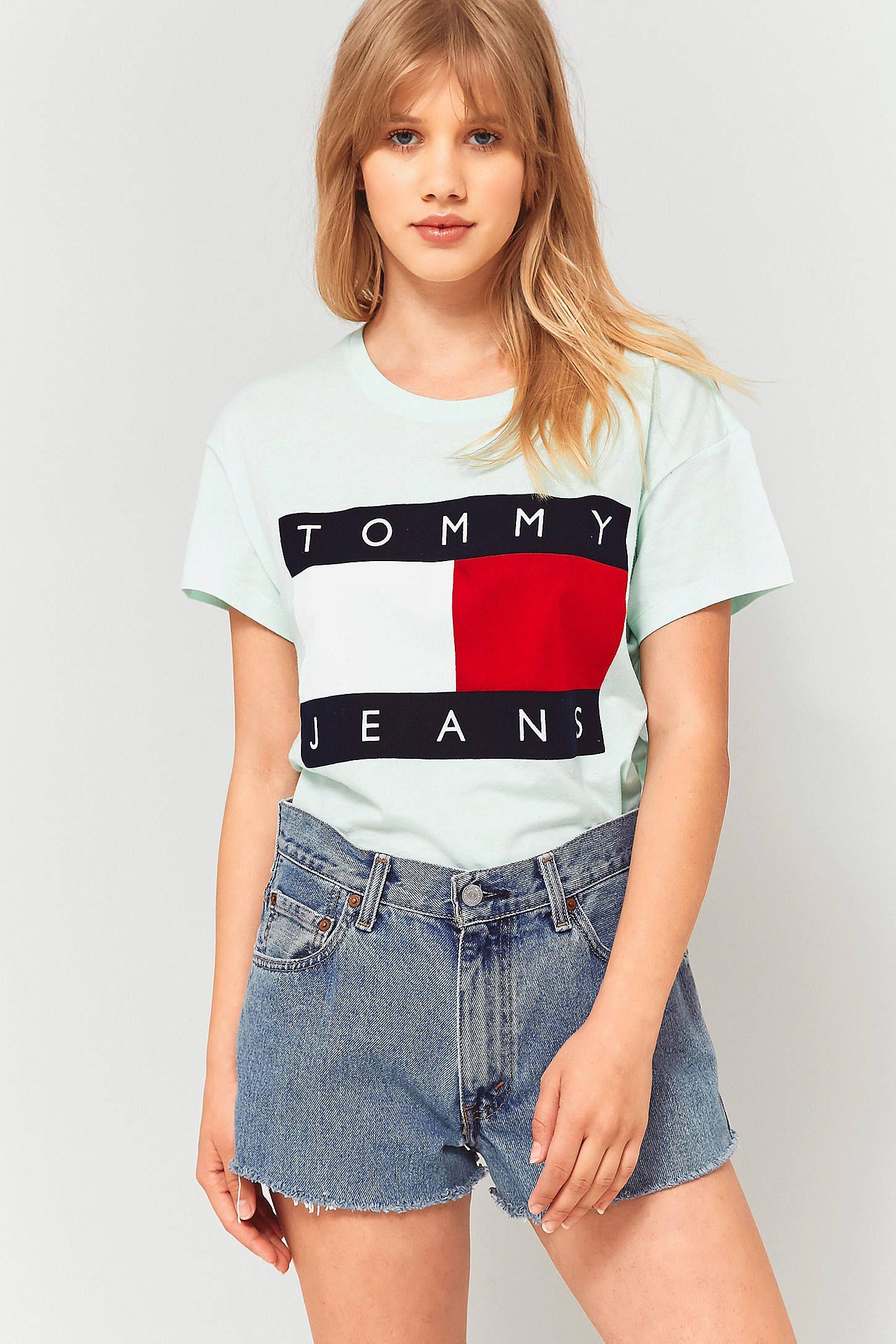 b84996721856 Tommy Jeans '90s Mint Green Logo T-Shirt | Sporty spice! | Tommy ...