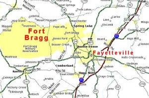 fort bragg fayetteville nc map | map ft bragg 300x198 Map Of