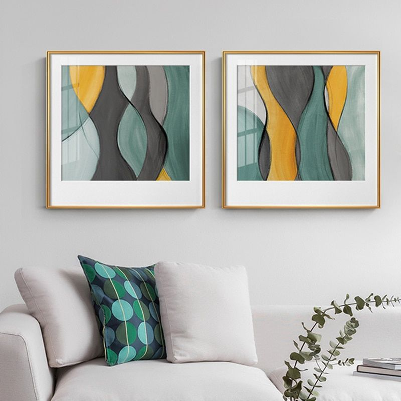 Yellow Green Modern Abstract Painting Canvas Poster Print Nordic Decoration Wall Art Decorative Picture Living Room Home Decor Canvas Art Wall Decor Calligraphy Wall Art Dining Room Wall Art
