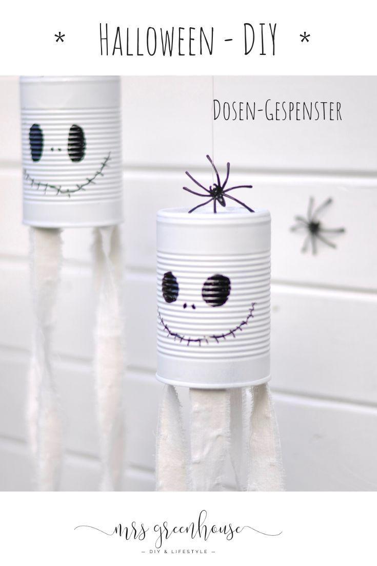Einfaches Halloween DIY - Dosengespenster zum Aufhängen #geisterbasteln