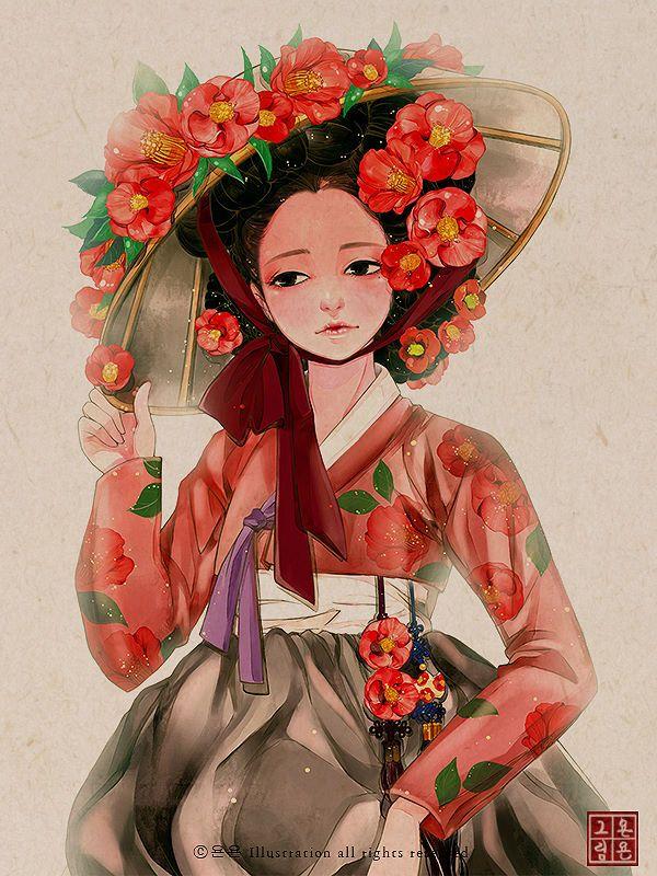 """오늘 오는가 내일 오는가 오지 못하면  소식이나 오는가 기별이나 오는가 꿈에라도 오는가..  -동백꽃의 전설 中   기다림의 꽃, 청렴과 절조의 꽃 동백. 그 옛날 한국의 여인상과도 잘 어울리는 꽃이죠.   동백꽃은 1월부터 꽃이 피기 시작해, 고창에선  4월말에도 핀다고 합니다.  저희 집에는 2월말부터 핀 동백꽃이 이젠 다 고개를 떨구고, 몇송이만이 남아있네요. 고개를 떨구는 그 순간까지도 아름다운 꽃이아닐까 싶습니다.   동백꽃의 꽃말은..  """"당신을 사랑합니다..그 누구보다 더""""  라고 하네요^^   ⓒ욘욘 Illustration all rights reserved http://blog.naver.com/wedding83"""