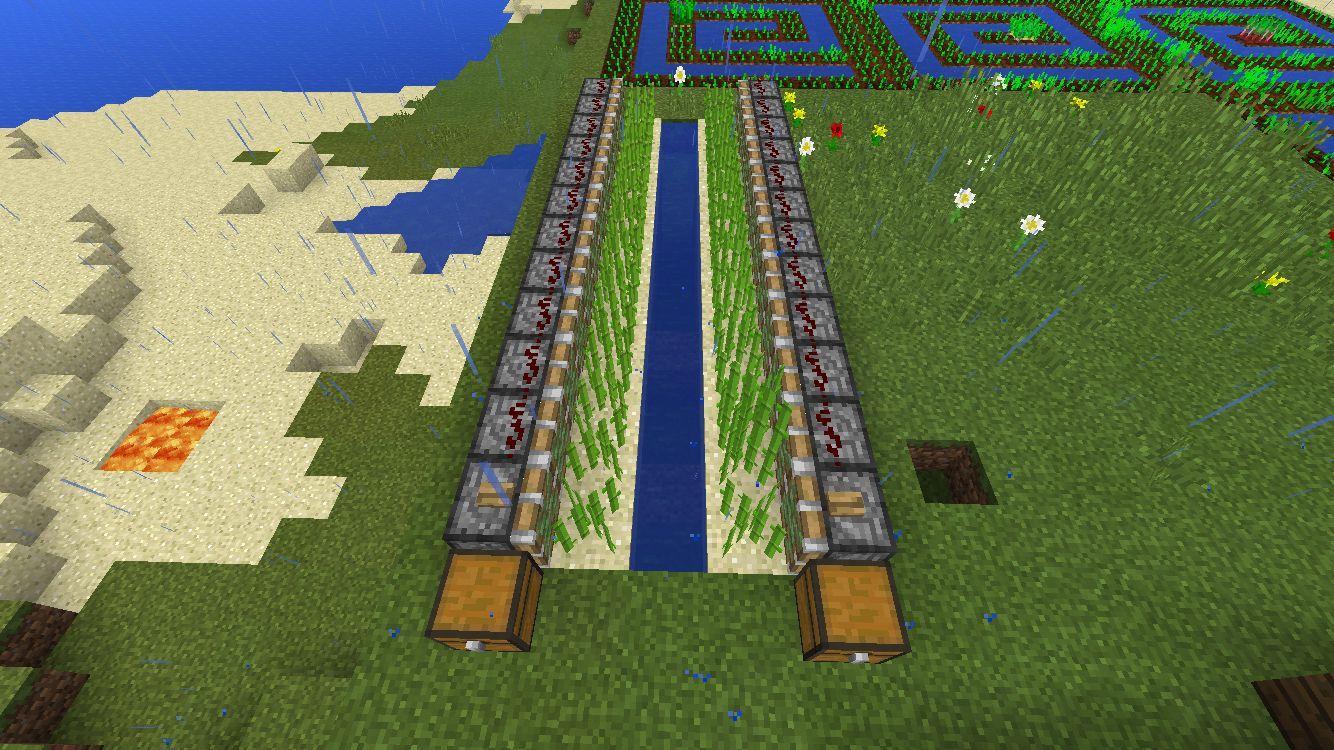 Easy Automatic Sugarcane Farm Minecraft Crafts Minecraft Survival Minecraft