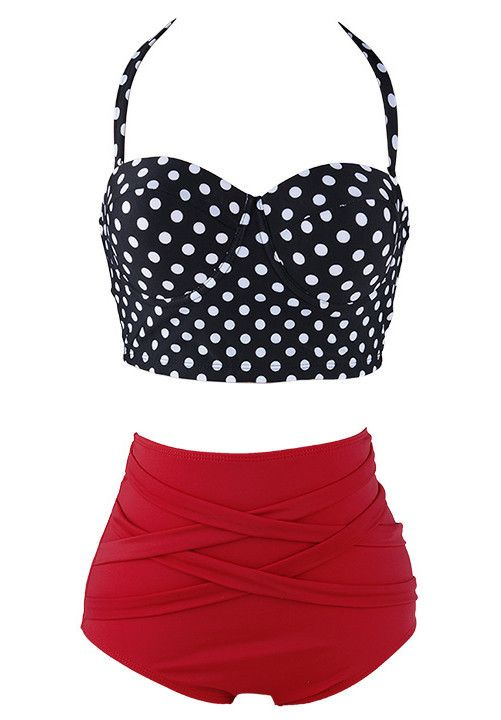 48613504d6873 HIGH WAISTED BIKINI SET 👙 High waisted red swim bottoms and polka dot  halter top with removable neck tie straps! Tag says L but fits more like  M L Swim ...