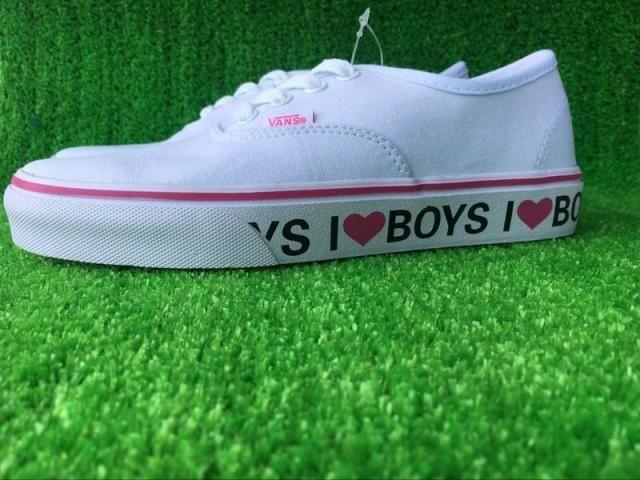 2208d7b95cde Vans I Love Boys Authentic Classic Red True White check Womens Shoes  Vans