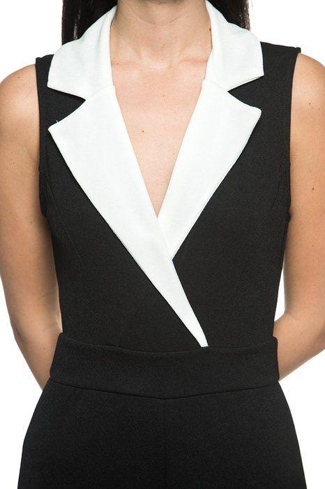 6bce39a9f59 Womens Plus Black White Tuxedo Collar Lapel V Neck Wide Leg Pant ...
