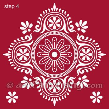 Bengali Traditional Art Alpona For Floor Design