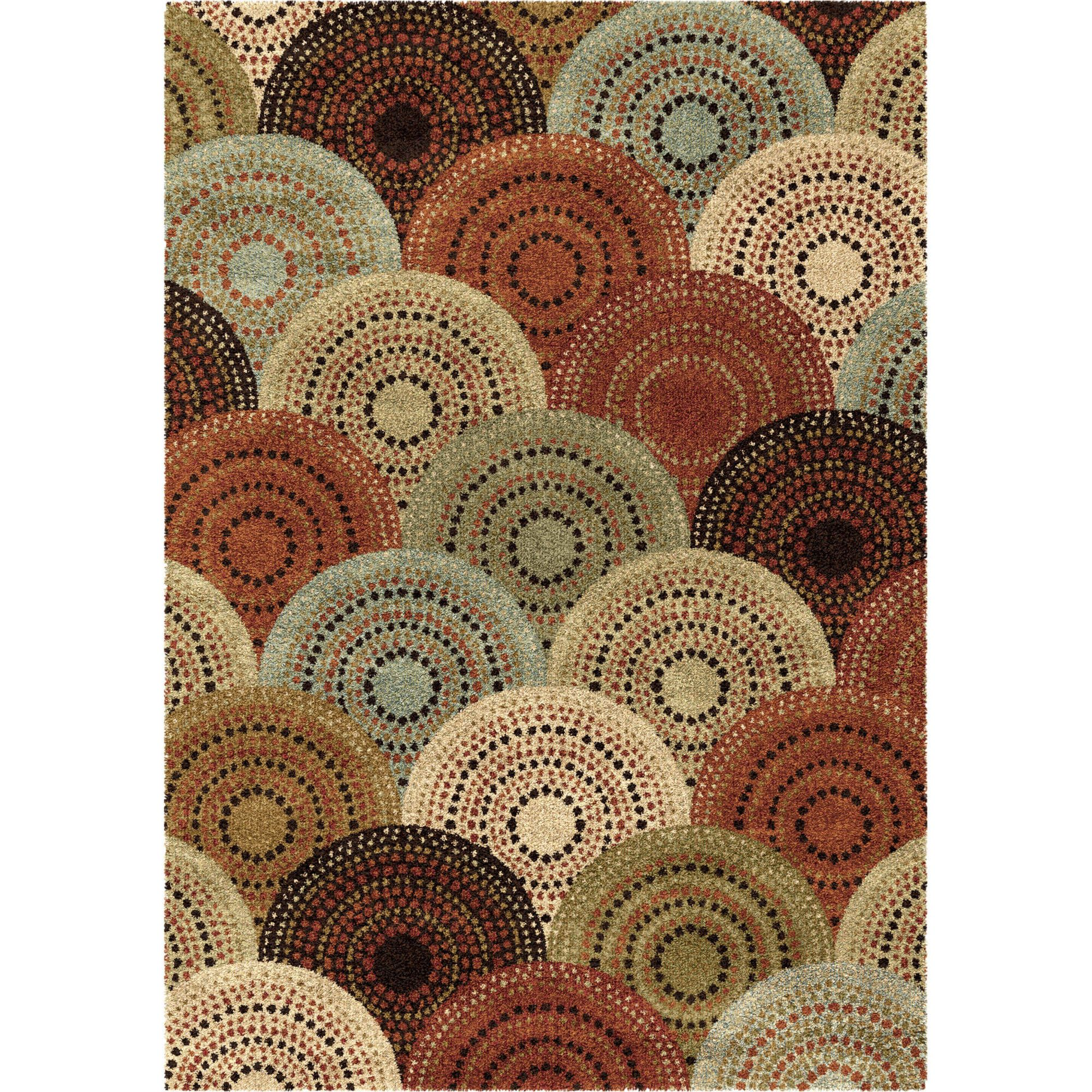 Better Homes and Gardens Spice Dotted Circles Multi-Colored Area Rug ...