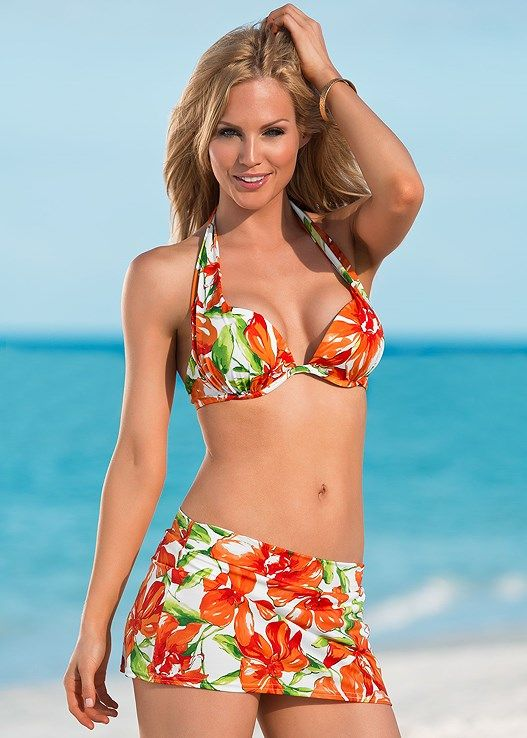 62cd69b7c8 Venus Women s Skirted Swim Full Bikini Swimsuit Bottoms - Green orange white