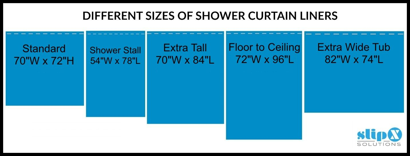 How Long Is A Standard Or Extra Long Shower Curtain Liner Guide Shower Curtain Sizes Extra Long Shower Curtain Long Shower Curtains