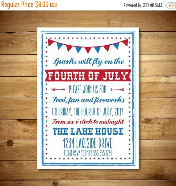 printable fourth of july invitation template july 4th vintage