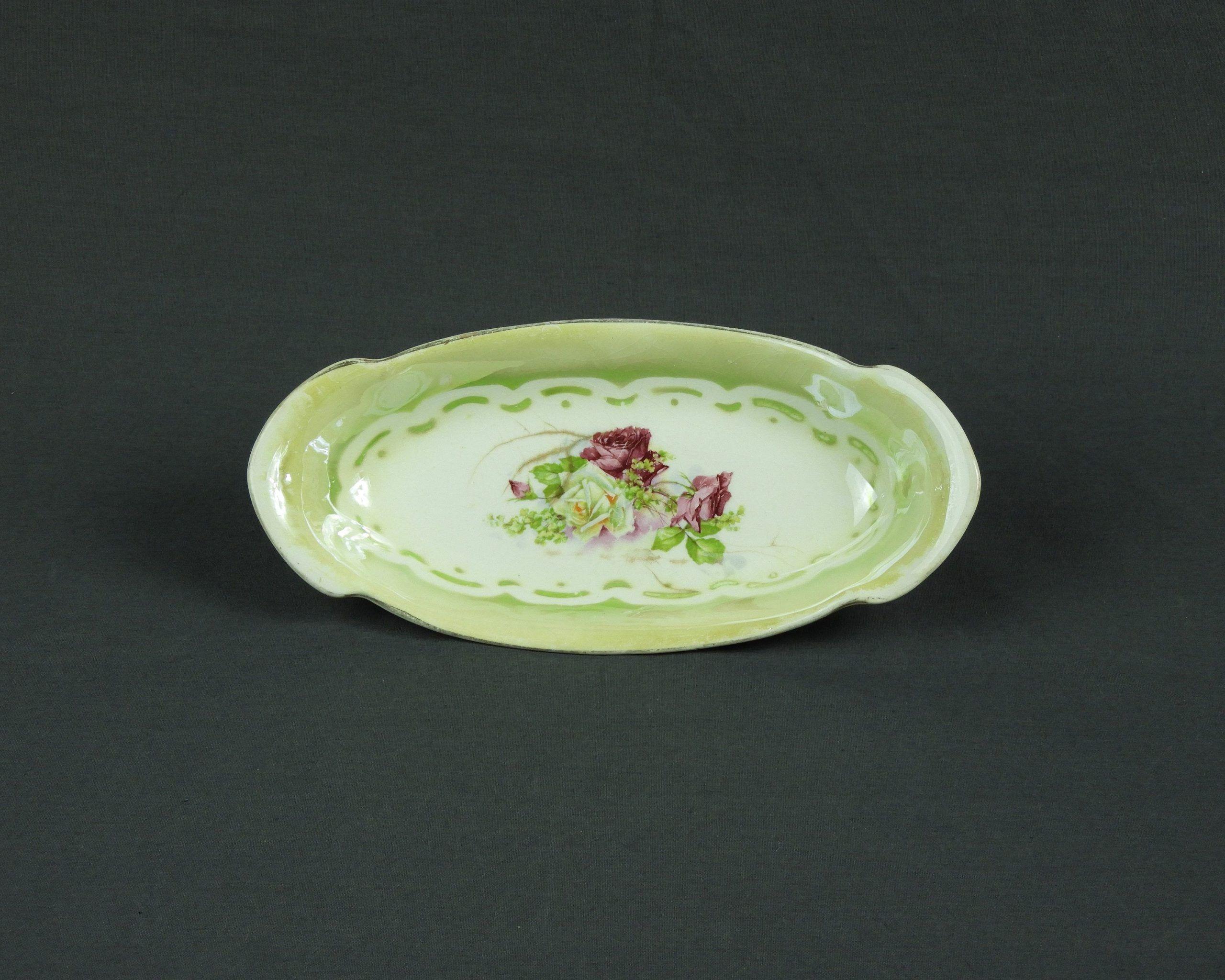 Vintage Relish Dish Rose China Transferware 2441 Chinaware Lila  Grün Sammlergeschirr Wohnkultur Hochzeitsgeschenk längliches Ovalamp
