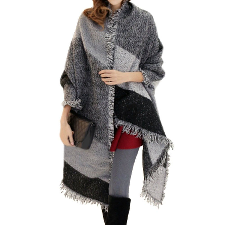Large Cape Style Scarf Scarves Thick Tartan Wrap Stole Wool Pashmina Shawl UK