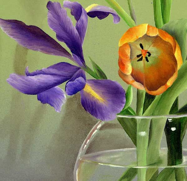 Split Complementary Realistic Painting This Flower Drawing Uses The Colors Green Red Violet And Orange I Think Artist Got Very Close