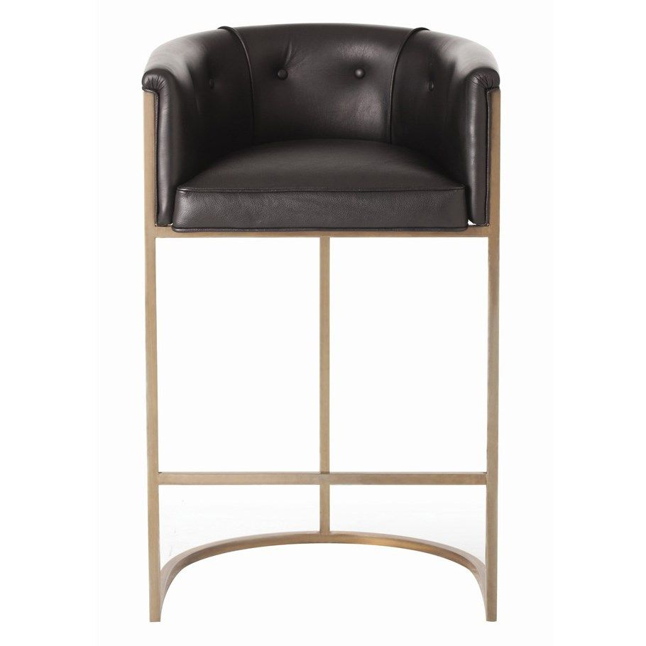 "Calvin Black Barstool by Arteriors, stainless steel w/ polished nickel finish, black leather seat, 23.5""w 22""d 38.5""h, $2112"