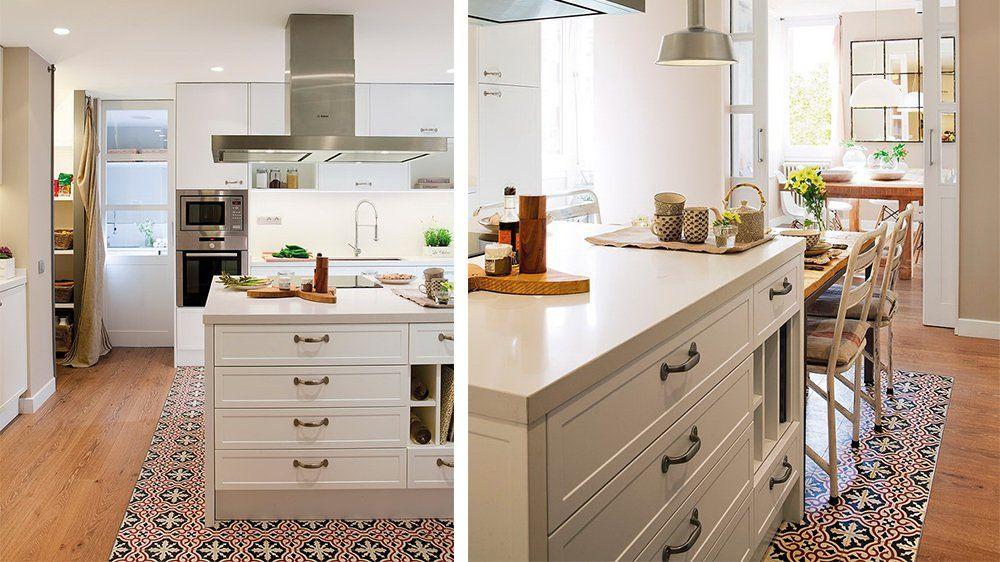 20 sols associant carrelage et bois cuisine pinterest carrelage parquet cuisine et carreau - Parquet cuisine ouverte ...