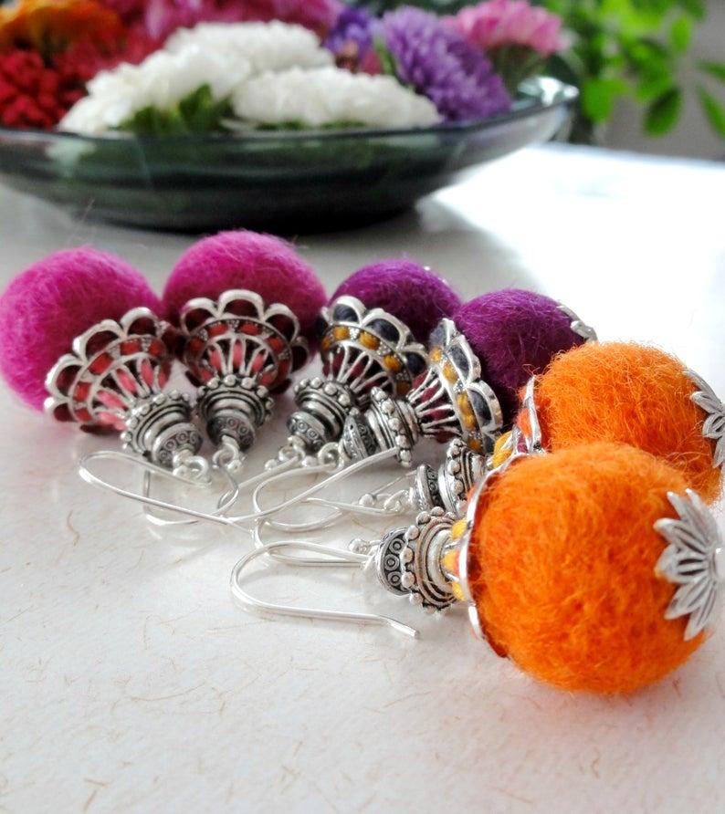 Embroidered Felt earrings