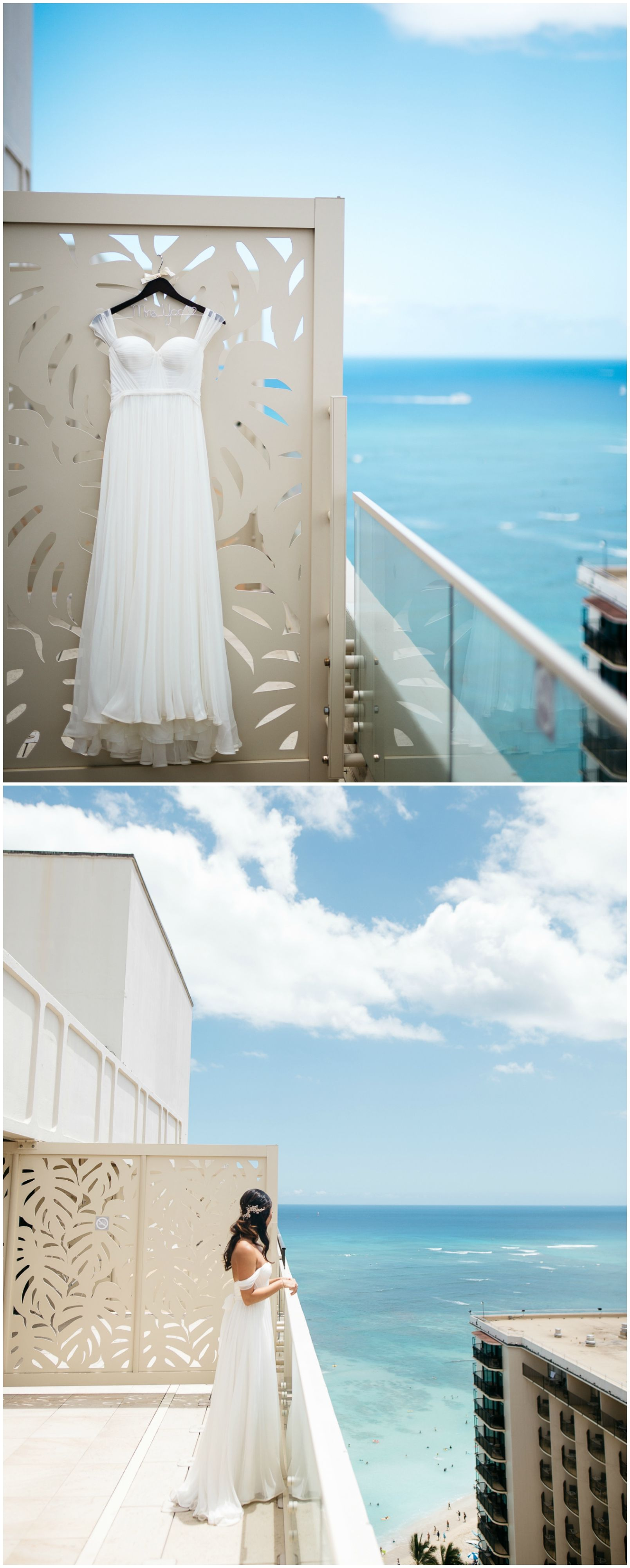 Breezy wedding dress, light fabric, off-the-shoulder sleeves, beach wedding fashion, Hawaii // Makai Creative