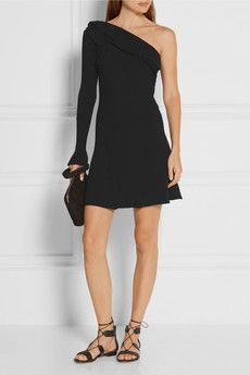 One-shoulder ruffled ribbed-knit mini dress